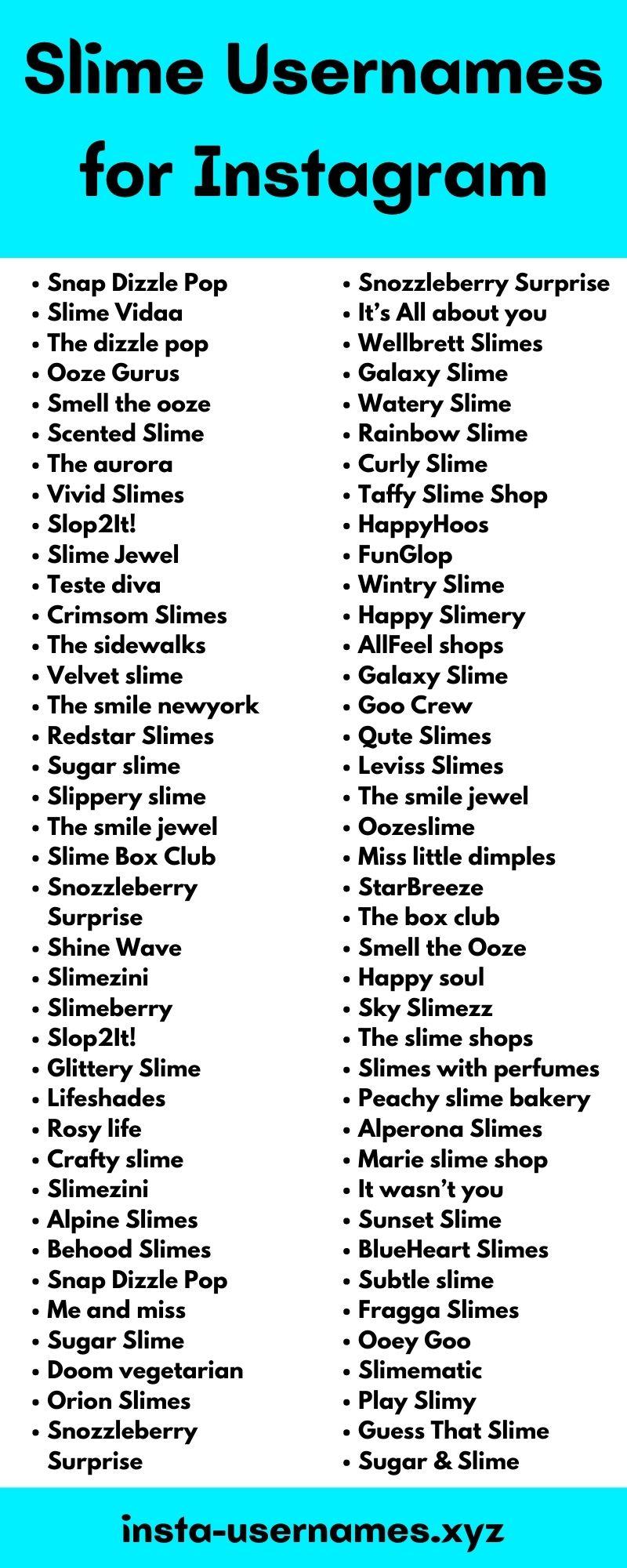 Slime Usernames for Instagram
