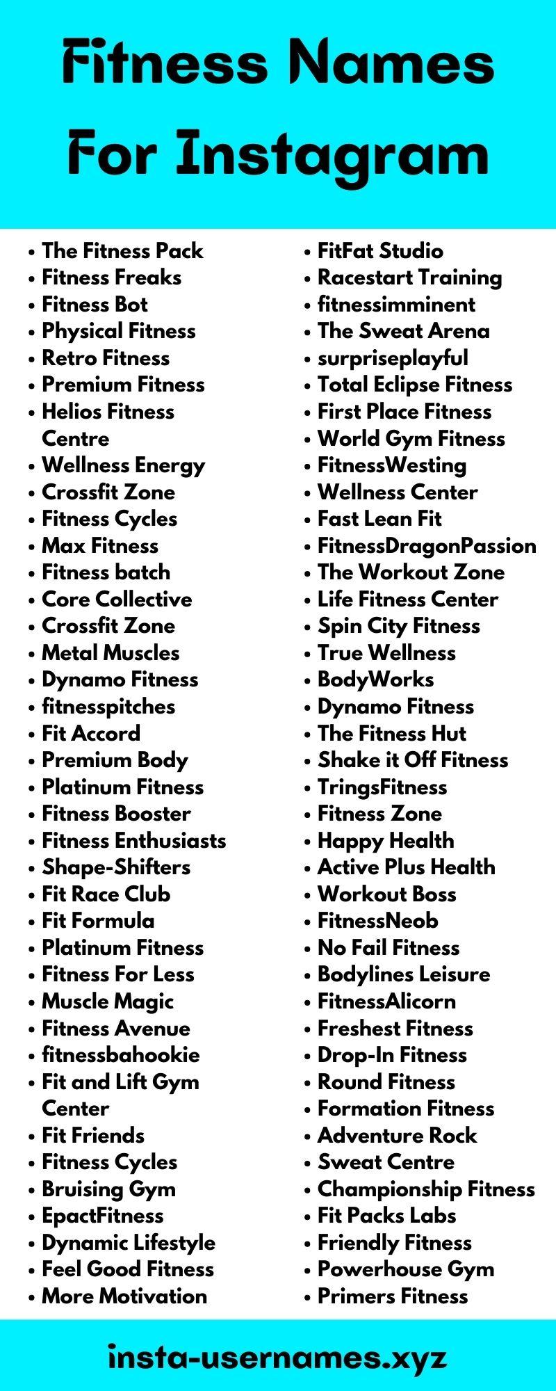 Fitness Instagram Usernames
